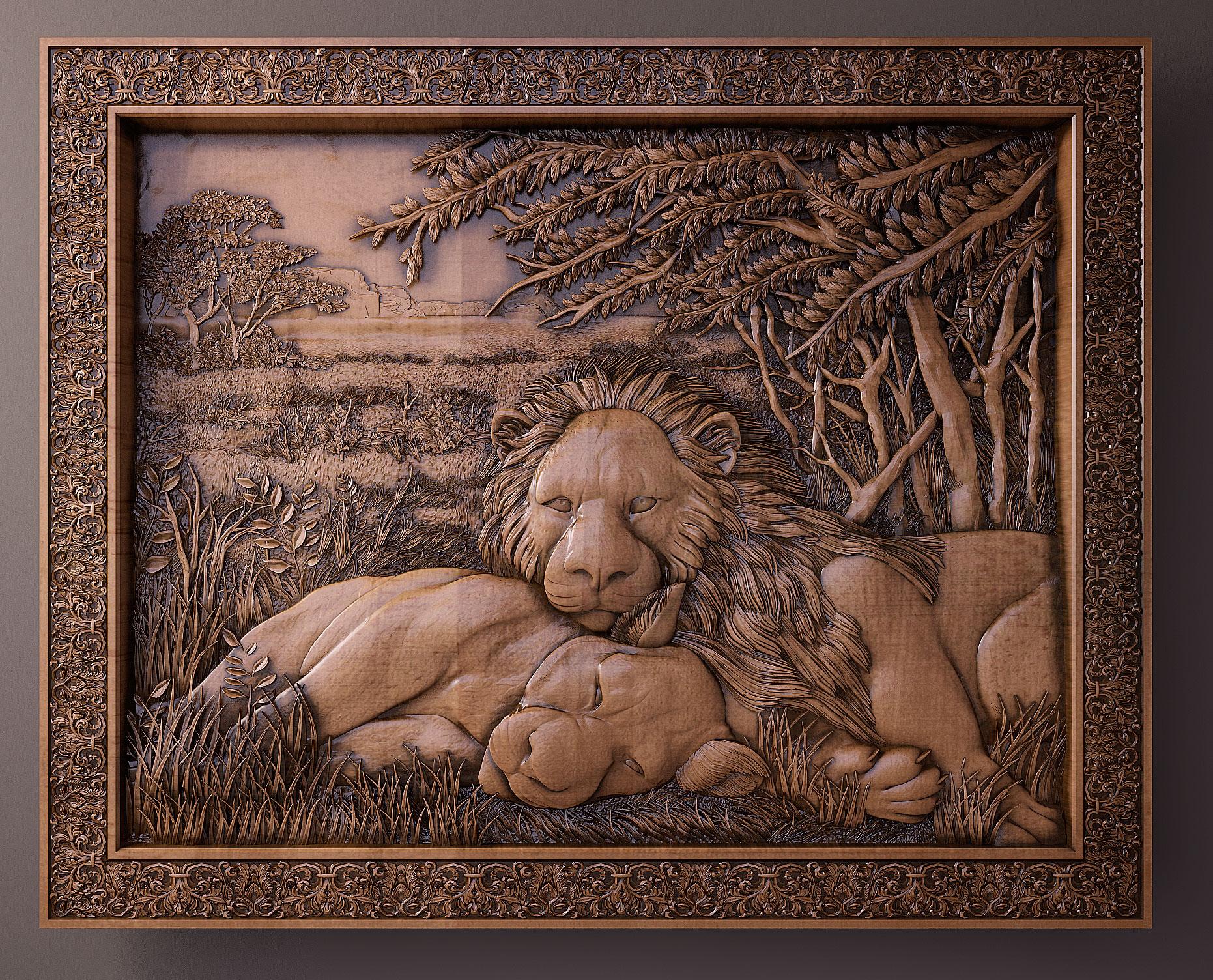 Панно львы