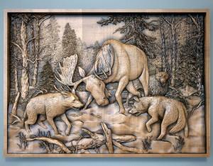 Резная картина Лось и волки
