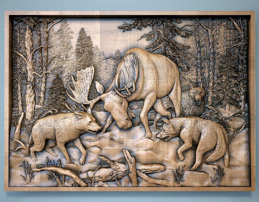 картина лось и волки