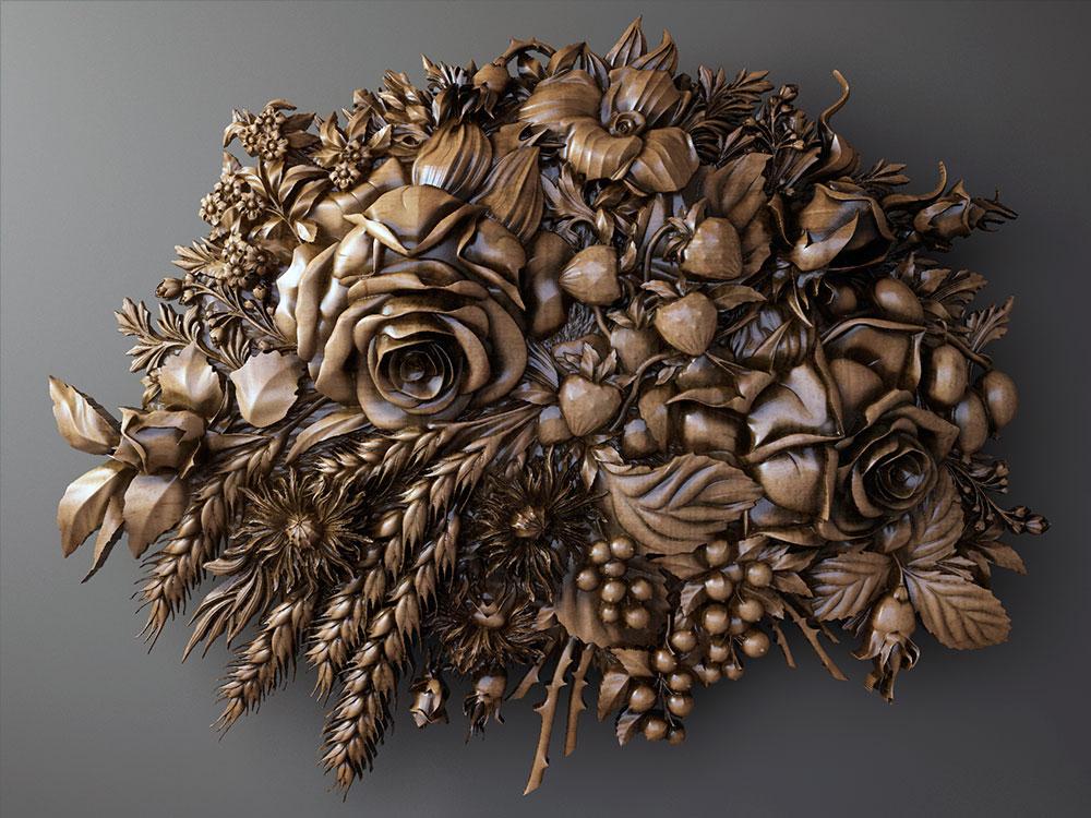 Цветы резьба по дереву