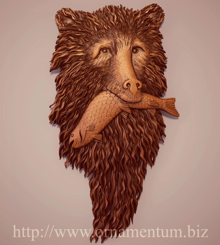 панно медведь с рыбой