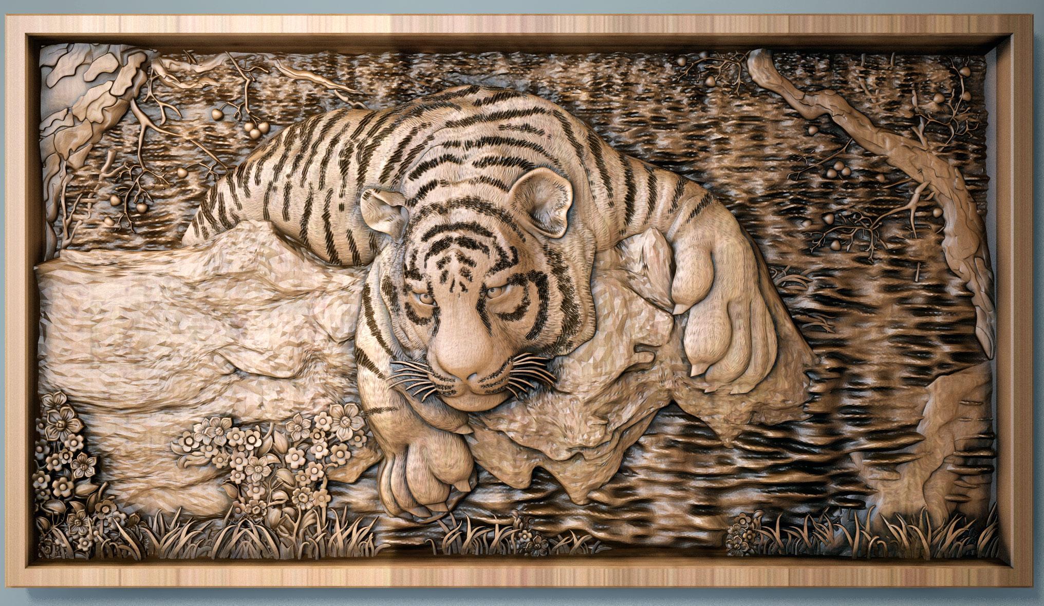 резьба по дереву тигр к реки