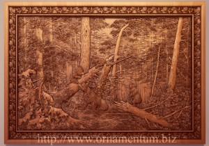 светлая резная картина утро в сосновом лесу
