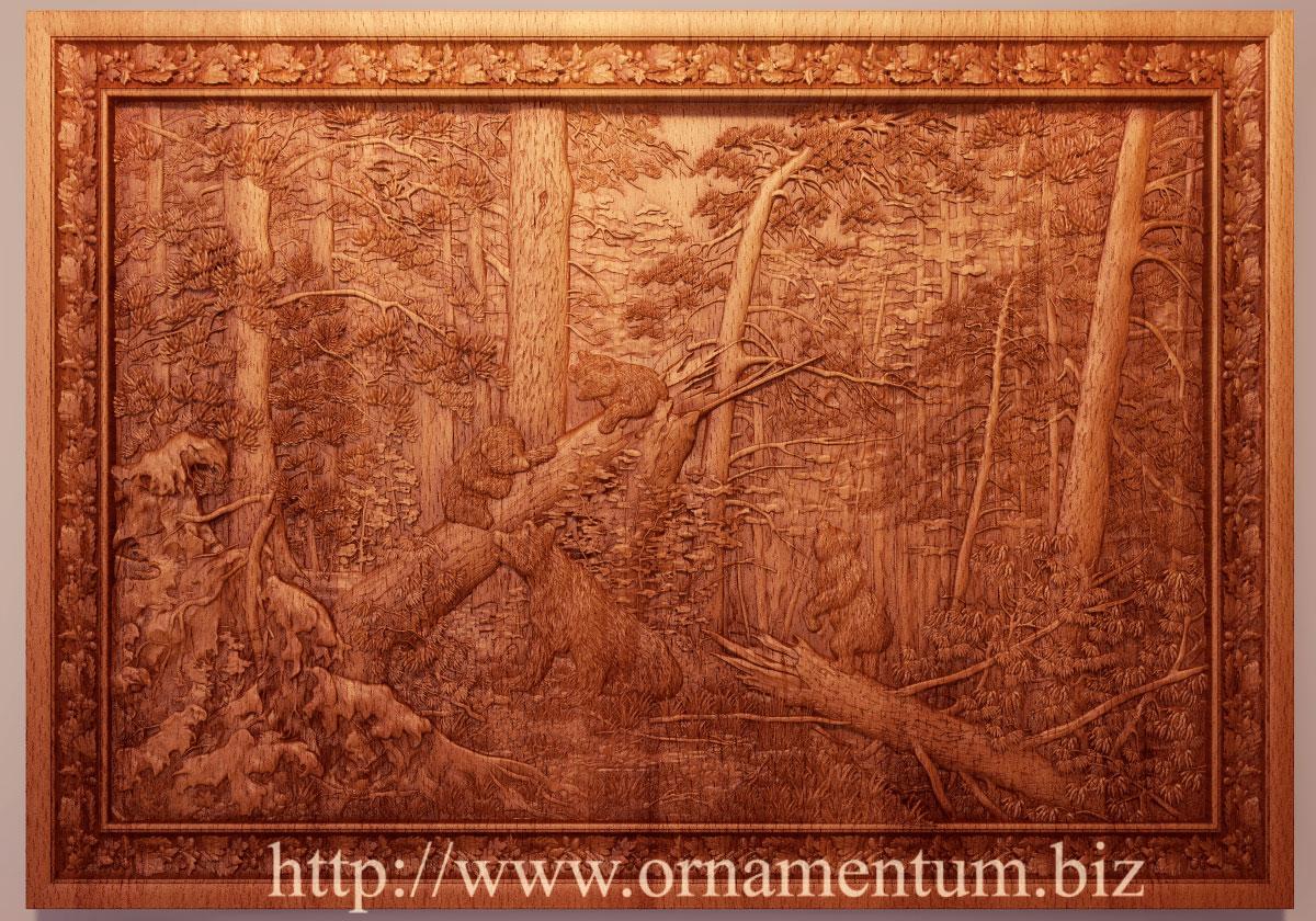 шишкин утров сосновом лесу резная картина
