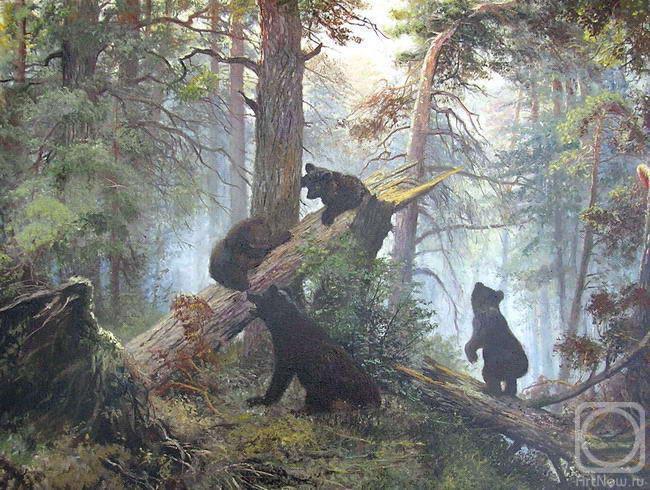 какртина утро в сосновом лесу