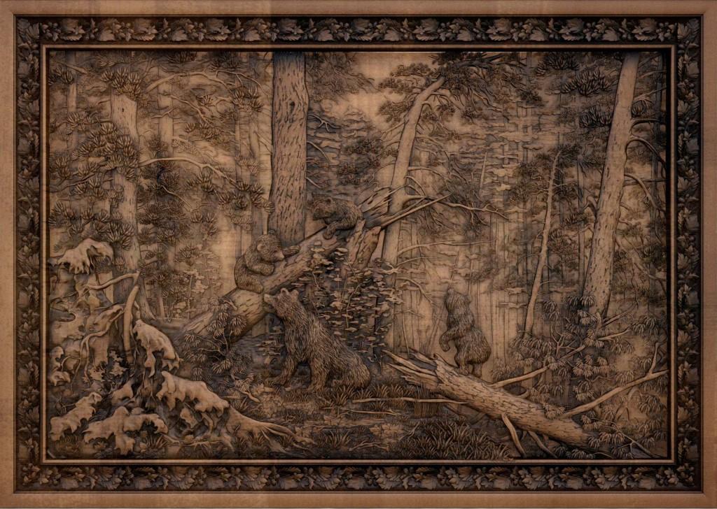 резная картина утро в сосновом лесу