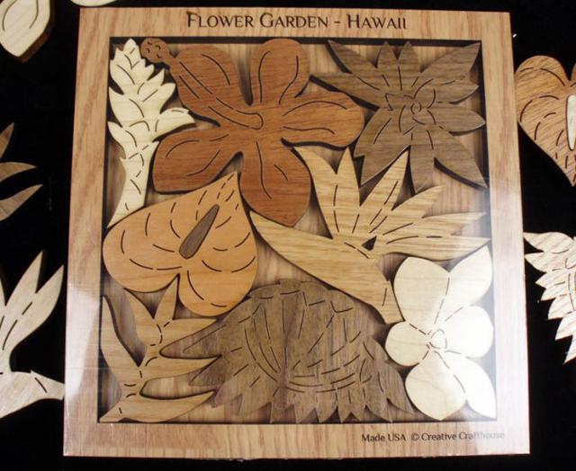 мозаика из деревянных цветов