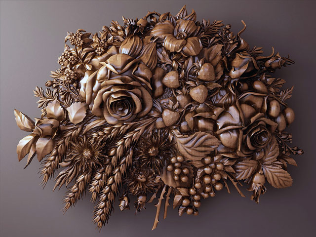 резное панно цветы