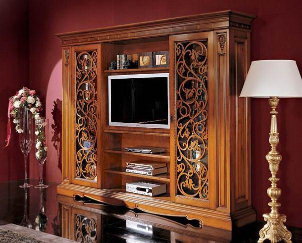 резная деревянная стойка для телевизора