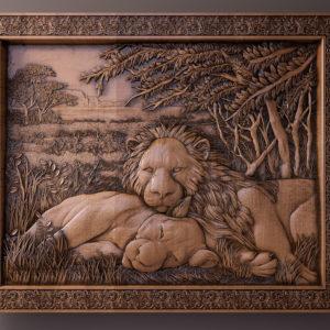 картина со львами резная