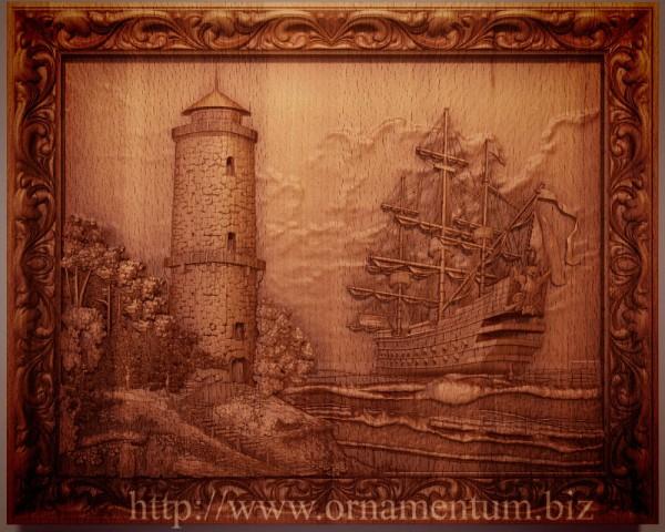 резная картина маяк