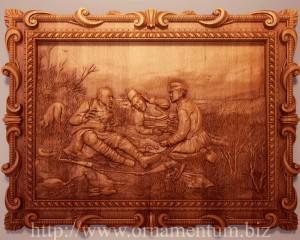 Резная картина охотники на привале