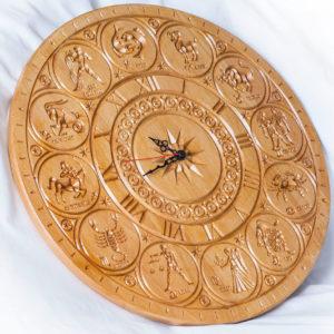 """Деревянные резные часы """"Знаки Зодиака"""""""