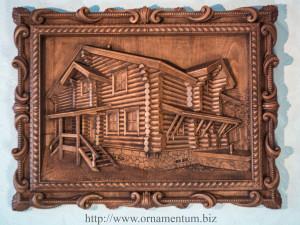 деревянное панно сувенир дом