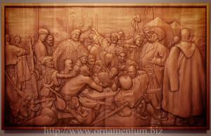 деревянная картина казаки пишут письмо