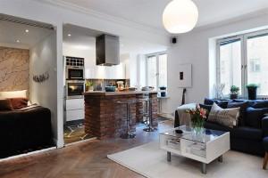 Кухня-студия в небольшой квартире