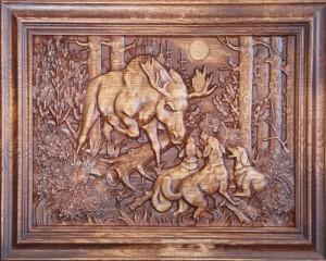 Плосковыемчатая резьба используется для создания картин
