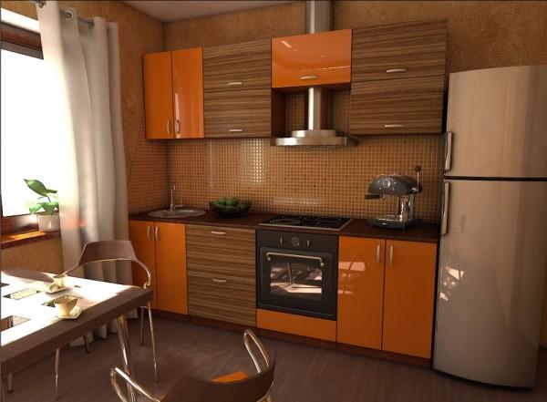 Зебано также прекрасно сочетается с классическим деревом и оранжевыми панелями