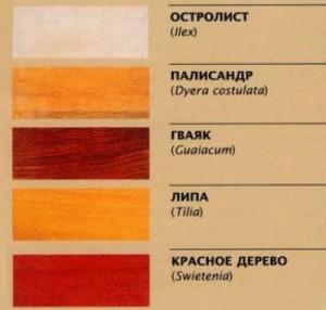 Таблица пород дерева часть 1